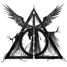 The Deathly Hallows are three highly powerful magical objects. They consisted of the Elder Wand, the Resurrection Stone, and the Cloak of Invisibility.. Style: Blackwork. Color: Black. Tags: Best, Awesome, Great