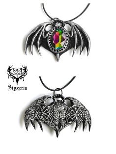 #clay #pendant #styxeria #OrnaBat #gothic #bat #artist #etsy #jewelry #deviantart #handmade #pendant #ooak #dark #necklace #clay #polymer #art #craft #halloween #vamp #vampire #spooky #halloween #creepy #wings #batwings #black #silver  #ornaments #ornament #ornamented #detailed #details #pattern