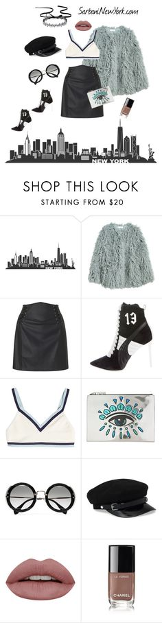 """""""Sporty Chic"""" by sarbani on Polyvore featuring H&M, Miss Selfridge, Puma, Kenzo, Miu Miu, Chanel, Leather, sporty and fur"""