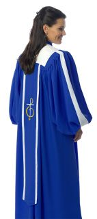 A single, extra-long banner streams down the front of the ANDANTE choir robe. A similar, wider banner is centered on the back of the robe for an equally distinctive appearance regardless of the viewing angle. Available custom tailored in your choice of fabrics and colors and is backed by our Guarantee of quality.