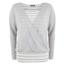 Mint Velvet Stripe Wrap Knit Top, Grey / Ivory