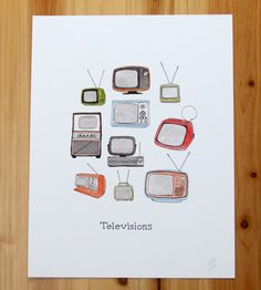 Vintage Televisions Print by Jodi Lynn's Emporium of Doodles on Scoutmob Shoppe