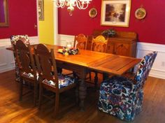 Beautiful Antique Tiger Oak Dining Table 6CHAIRS 2CURTAINS in Atlanta Georgia | eBay