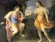 Encounter of Bradamante and Fiordispina, 1635 by Guido Reni. Baroque. literary painting