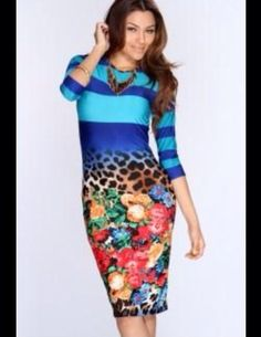 Blue Floral And Animal Print Mixed Bodycon Dress Size Small in Clothing, Shoes & Accessories | eBay