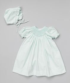 Sweet Mint Bishop Dress & Bonnet