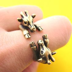 Double Giraffe Animal Wrap Around Ring in Brass - Sizes 5 to 9 Available
