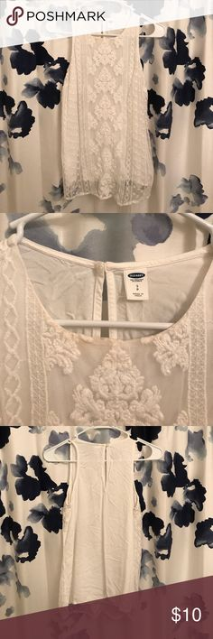 Old Navy Lace Overlay Tank Sleeveless tank from oldnavy with pretty lace overlay on front. Only worn once. No holes or tears. Some discoloration around neck (I️ think from makeup) that could probably be fixed Old Navy Tops Tank Tops