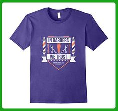 Mens In Barbers We Trust, Barber Shop, Hair Stylist Retro T-Shirt 3XL Purple - Retro shirts (*Amazon Partner-Link)