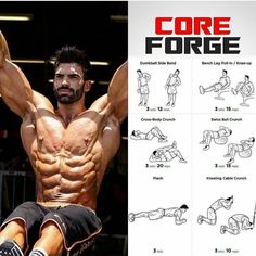 Core Forge ABS ! Dumbbell Side band Bench leg Pull in / Knee Up Cross body crunch Swiss Ball Crunch Plank Kneeling cable crunch Related posts:Muscle structure for stretchingImage about healthy in fitnessbarell bent-over rowRead More →
