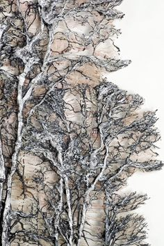 Textile Art - Aesthetic Home Decor Lesley Richmond Silver Forest Brighten your luxury home with textile art Art Fibres Textiles, Textile Fiber Art, Textile Artists, Gesso Art, Sculpture Textile, Quilt Modernen, Fabric Manipulation, Natural Forms, Tree Art