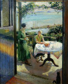 """Harold Harvey (British 1874–1941) - """"The blue door"""", 1931"""