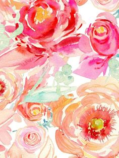 Aquarelle, fleurs. Orange et rose | Watercolor, flowers. Pink and orange