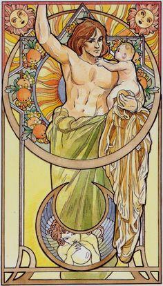 XIX. The Sun: Art Nouveau Tarot