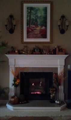 Fall Fireplace Decorating - Sconces Off... Emma helped me decorate! :)