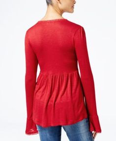 American Rag Juniors' Bell-Sleeve Peasant Top, Created for Macy's - White XXS
