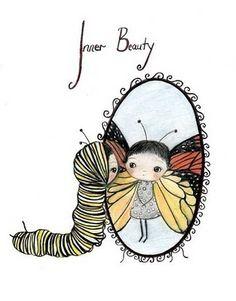 inner beauty (the poppy tree) Tags: reflection cute art girl beautiful beauty illustration butterfly bug print mirror wings drawing caterpillar monarch antennas thepoppytree Illustrations, Illustration Art, Butterfly Illustration, Butterfly Print, Butterfly Girl, Nursery Art, Art Girl, Poppies, Swatch