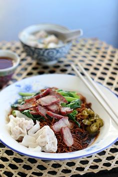 Malaysian Wonton Mee (served with char sui and choy sum)