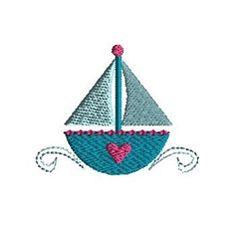 Mini Heart Sailboat - 3 Sizes!   What's New   Machine Embroidery Designs   SWAKembroidery.com Sew Cha Cha