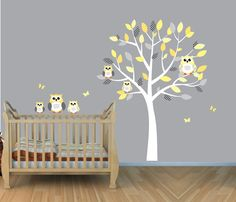 I want them to decorate their nursery in yellow and gray owls now with plenty of chevron.  It would be so easy to do.  Owl Wall Decal Owl Wall Stickers Small Owl by NurseryDecalsNMore, $49.99