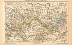 1896 Antique Map of Siberia Altai Mountains by CabinetOfTreasures