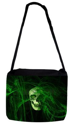Rosie Parker Inc. TM Medium Sized Messenger Bag 11.75' x 15.5' and 5' x 8' Pencil Case SET - Neon Green Skull Art *** Find out more about the great product at the image link. (This is an Amazon Affiliate link)
