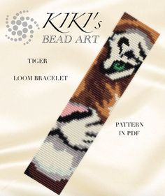 Bead loom pattern - Tiger - wild cat LOOM bracelet cuff pattern in PDF - instant download