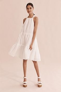 Organically Grown Linen Crinkle Tiered Mini Dress Promotional Events, Shoe Size Conversion, Crinkles, Body Measurements, What To Wear, White Dress, Legs, Clothes For Women, Mini
