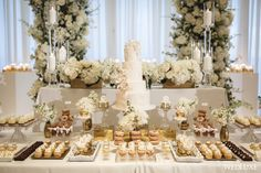 White Out - WedLuxe Magazine Look at all of these beautiful treats! Wedding Candy Table, Sweet Table Wedding, Dessert Bar Wedding, Wedding Desserts, Elegant Wedding, Wedding Cakes, Wedding Decorations, Table Decorations, Elegant Dessert Table