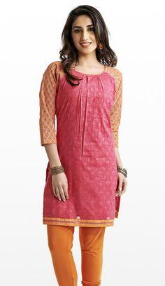 Pink & Orange Cotton Kurti | Naari