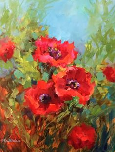 Artists Of Texas Contemporary Paintings and Art - Mountain Song Poppies by Floral Artist Nancy Medina