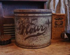Early Farmhouse Kitchen Old Flour Canister by prairieantiques