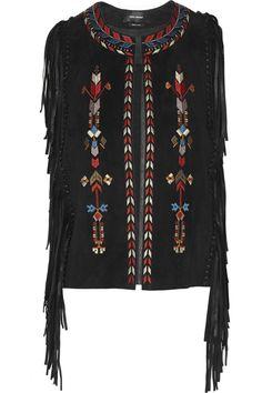Isabel Marant Maxime fringed embroidered suede vest NET-A-PORTER.COM