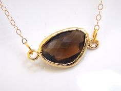 Smoky Quartz Necklace Brown Necklace Gold Filled by mlejewelry, $20.00
