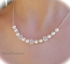 Pearl Bridal Necklace Rhinestone and Pearl by AzureTreasures, $55.00