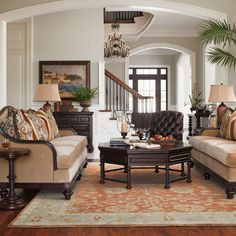This European classic style living room features the Kilimanjaro Monrovia Octagonal Cocktail Table from Lexington Home Brands. Find great Lexington furniture like this at West Coast Living! Decor, Classic Living Room, Classic Home Decor, Home Living Room, Living Room Furniture, Home Decor, British Colonial Decor, Living Decor, Home And Living