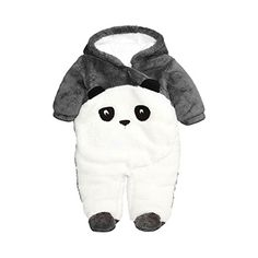Cartoon Panda Hat Fall Outfits YOUNGER TREE Infant Newborn Baby Girls Boys Bodysuit Stripe Sleeves Romper