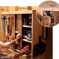 On-a-Roll Pegboard Doors - Maximize hand tool storage in a tool cabinet with this slick tip. The key to this project is a…