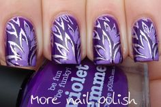 Violently Violet >> Picture Polish Violet Femme as base,  stamped with Bundle Monster Plate BM210 & Color Club Nothing Else Metals. Filled with Picture Polish Wisteria.