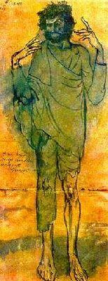 O Louco (1904).Pablo Picasso (1881-1973).Aquarela sobre cartolina.( Fase azul de Picasso)
