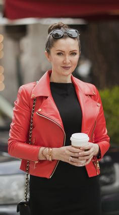 Red biker jacket by ADAMOFUR #fashion #streetstyle #look #spring #red #leather Leather Fashion, Red Leather, Leather Jacket, Biker, Street Style, Mood, Spring, Jackets, Clothes