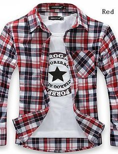 Generic Mens Long Sleeve Irregular Fashion Plaid Hip-Hop Button Down Shirts