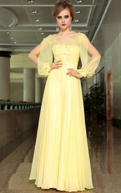 Korean Fashion Long Sleeve High Waist Evening Dress