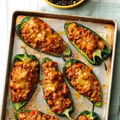 Chili-Stuffed Poblano Peppers Recipe -While exploring Mexican restaurants, I tasted chiles rellenos and wanted to make them at home. My husband and I teamed up to create this new favorite recipe. —Lorrie Grabczynski, Commerce Township, Michigan