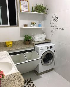 48 functional and stylish laundry room design ideas to inspire 5 Basement Laundry, Laundry Room Storage, Laundry Room Design, Laundry In Bathroom, Small Bathroom, Cozy Bathroom, Appartement Design Studio, Modern Laundry Rooms, Small Laundry