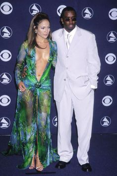 """Jennifer Lopez & Sean """"Puffy"""" Combs do it up at the 42nd AnnualGrammys."""