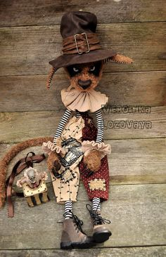 Dark Alley Cats by Veronika Lozovaya Circus Crafts, Circus Art, Creepy Circus, Circus Decorations, Monster Drawing, Alley Cat, Cat Doll, Cat Crafts, Monster Wreath