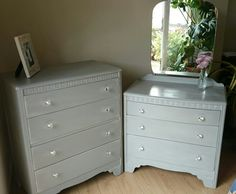 Vintage Lebus shabby chic dressing table and chest of drawers painted in Annie Sloan Paris Grey, distressed and waxed. New crystal drawer knobs added Dressing Table And Chest Of Drawers, Shabby Chic Dressing Table, Annie Sloan Paris Grey, Laura Ashley Home, Drawer Knobs, Painted Furniture, Bedroom Ideas, Dresser, Homes