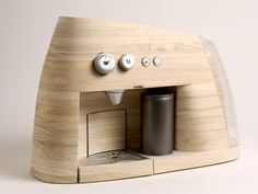 An espresso machine made from wood. Nice!