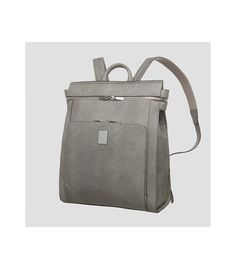 Grey Lizard-Embossed Matte Finish Lay Backpack Top Zip Closure and Front Zip Pocket